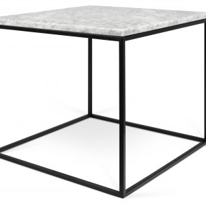 Porto Deco Bílý mramorový odkládací stolek Amaro s černou podnoží 50 x 50 cm - Výška45 cm- Šířka move 50 cm
