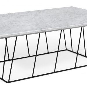 Porto Deco Bílý mramorový konferenční stolek Rofus 120 x 76 cm s černou podnoží - Výška40 cm- Šířka move 120 cm