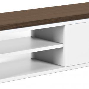 Porto Deco Matně bílý ořechový TV stolek Lance 203 x 35 cm - Výška20/40 cm- Šířka move 125/235 cm