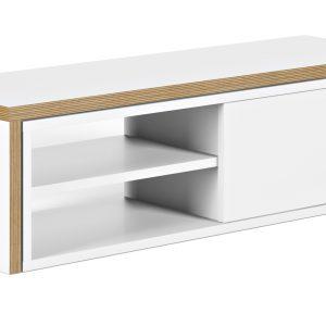 Porto Deco Matně bílý dubový TV stolek Lance 203 x 35 cm - Výška20/40 cm- Šířka move 125/235 cm