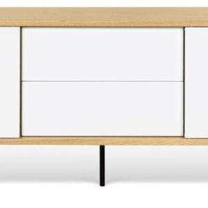 Porto Deco Bílý dubový TV stolek Deron 201 x 45 cm s kovovou podnoží - Výška65 cm- Šířka 201 cm