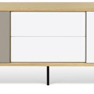 Porto Deco Bílošedý dubový TV stolek Deron 201 x 45 cm s kovovou podnoží - Výška65 cm- Šířka 201 cm
