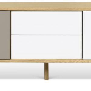 Porto Deco Bílošedý dubový TV stolek Deron 201 x 45 cm s dřevěnou podnoží - Výška65 cm- Šířka 201 cm