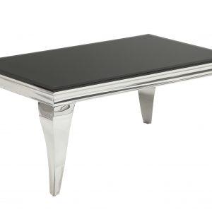 Moebel Living Stříbrnočerný skleněný konferenční stolek Versaille 100 x 60 cm - Výška45 cm- Hloubka move 60 cm