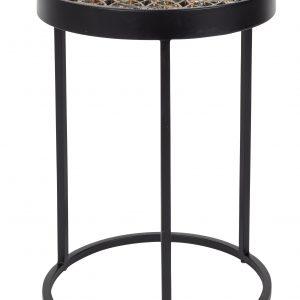 Černo - zlatý kovový odkládací stolek DUTCHBONE Sari - Výška46 cm- Průměr 33 cm