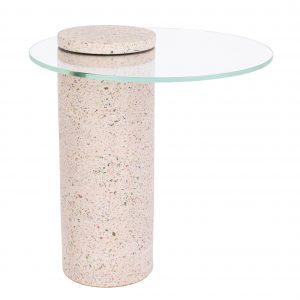 Světle růžový terrazzo odkládací stolek ZUIVER ROSALINA 40 cm - Výška44