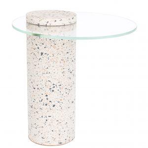 Bílý terrazzo odkládací stolek ZUIVER ROSALINA 40 cm - Výška44