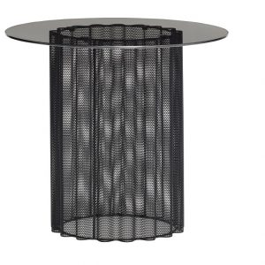 Černý kovový odkládací stolek Hübsch Farest ø45 cm - Deska moveKouřové sklo- Podnož move Černě lakovaný kov