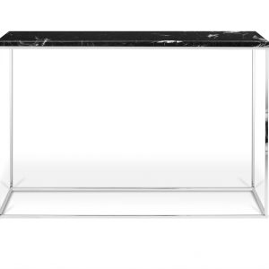 Porto Deco Černý mramorový toaletní stolek Baronet 120 x 40 cm se stříbrnou podnoží - Výška76 cm- Šířka move 120 cm