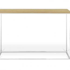 Porto Deco Přírodní dubový toaletní stolek Baronet 120x40 cm se stříbrnou podnoží - Výška76 cm- Šířka move 120 cm