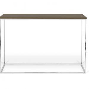 Porto Deco Hnědý ořechový toaletní stolek Baronet 120x40 cm se stříbrnou podnoží - Výška76 cm- Šířka move 120 cm