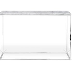 Porto Deco Bílý mramorový toaletní stolek Baronet 120x40 cm se stříbrnou podnoží - Výška76 cm- Šířka move 120 cm
