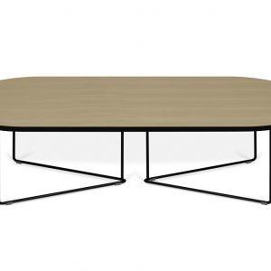 Porto Deco Přírodní oválný konferenční stolek Berna 136x60 cm - Výška36 cm- Šířka move 136 cm