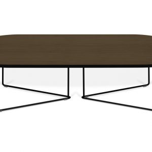 Porto Deco Hnědý oválný konferenční stolek Berna 136x60 cm - Výška36 cm- Šířka move 136 cm