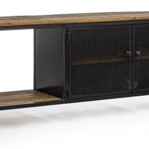 Černý kovový TV stolek Bizzotto Roderic 120x35 cm - Šířka120 cm- Hloubka move 35 cm