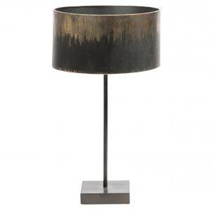 Hoorns Černo zlatá kovová stolní lampa Bessie - Výška56 cm- Průměr stínidla 34 cm