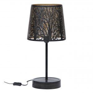 Hoorns Černo zlatá kovová stolní lampa Pumba - Výška56 cm- Průměr 28 cm