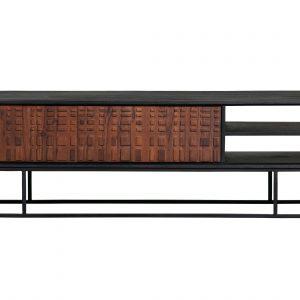Hoorns Hnědý masivní sheeshamový TV stolek Alecia 175 x 43 cm - Výška46 cm- Šířka 175 cm