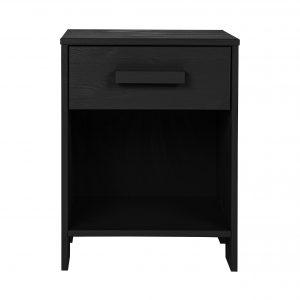 Hoorns Černý dřevěný noční stolek Koben 39 x 36 cm - Výška52 cm- Šířka move 39 cm