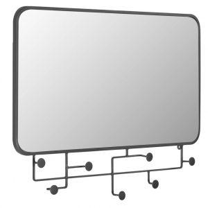Černé kovové nástěnné zrcadlo LaForma Vianela 63x82 cm s věšáky - Výška63 cm- Šířka 82 cm