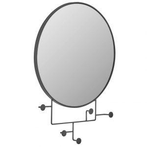 Černé kovové nástěnné zrcadlo LaForma Vianela 70x51 cm s věšáky - Výška51 cm- Šířka 70 cm