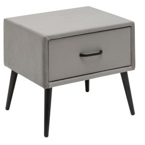 Moebel Living Šedý sametový noční stolek Giny - Šířka45 cm- Výška 42 cm