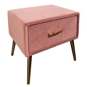 Moebel Living Růžový sametový noční stolek Giny - Šířka45 cm- Výška 42 cm