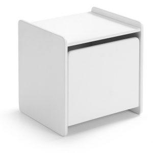 Bílý dřevěný dětský noční stolek Vipack Kiddy 40 x 36 cm - Výška41 cm- Šířka 40 cm