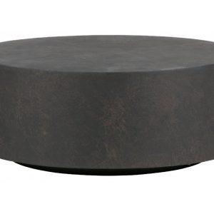 Hoorns Tmavě hnědý kulatý konferenční stolek James 80 cm - Výška32 cm- Stolek move Vláknitý jíl