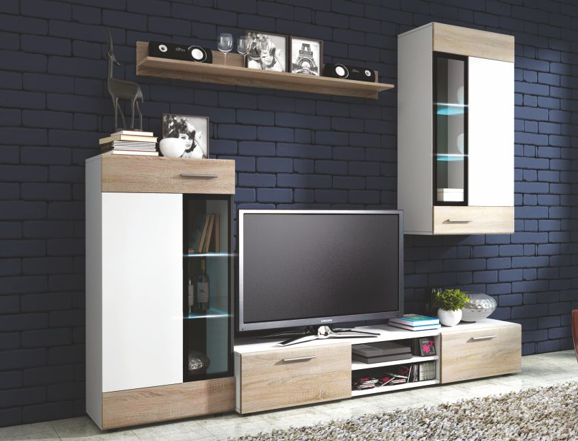 KASVO TWINGO (TANGO) o.s. (L) dub artisan/bílá - inspirace a fotogalerie stěn v obývacím pokoji