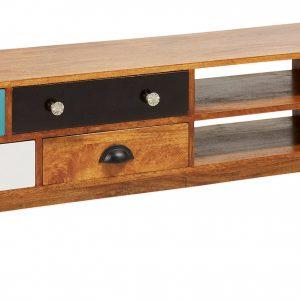 Mangový TV stolek LaForma Collin 160 x 35 cm s barevnými zásuvkami - Výška41 cm- Šířka 160 cm