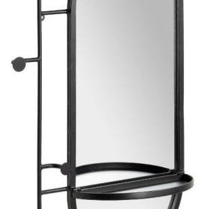 Černé kovové nástěnné zrcadlo LaForma Zada 52 x 82 cm s věšáky a policí - Výška82 cm- Šířka 52 cm
