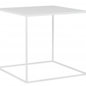 Nordic Design Bílý kovový konferenční stolek Moreno 50 x 50 cm - Výška45 cm- Šířka 50 cm