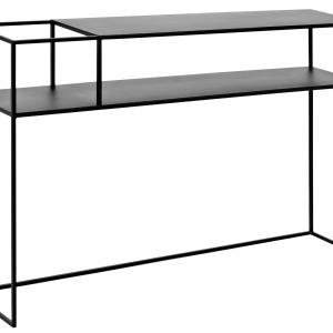 Nordic Design Černý kovový toaletní stolek Moreno 120 cm x 25 cm - Výška75 cm- Šířka 120 cm