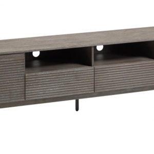 Antracitový dřevěný TV stolek LaForma Indiann 210 x 45 cm - Výška55 cm- Šířka 210