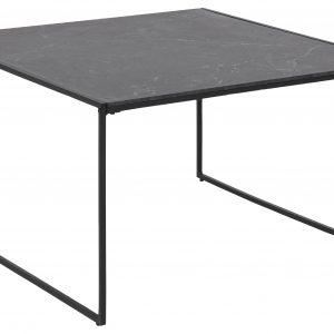 SCANDI Černý dřevěný konferenční stolek Sigrun 80 x 80 cm s mramorovou fólií - Výška48 cm- Šířka 80 cm