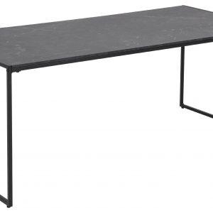 SCANDI Černý dřevěný konferenční stolek Sigrun 120 x 60 cm s mramorovou fólií - Výška48 cm- Šířka 120 cm