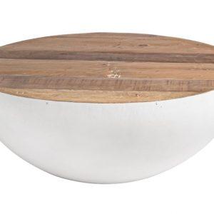 Bílý dřevěný konferenční stolek Bizzotto Lancaster 90 cm - Výška38 cm- Průměr 90 cm