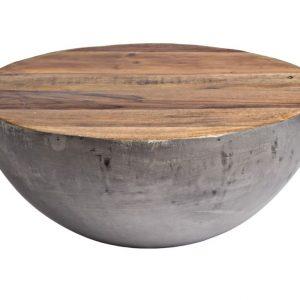 Šedý dřevěný konferenční stolek Bizzotto Lancaster 70 cm - Výška32 cm- Průměr 70 cm