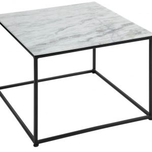 Moebel Living Bílý mramorový konferenční stolek Giraco 50 x 50 cm - Šířka50 cm- Výška 41 cm