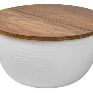 Moebel Living Bílý kovový konferenční stolek Cuvre 60 x 60 cm - Šířka60 cm- Výška 30 cm