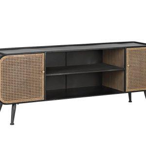Černo hnědý kovový TV stolek Bizzotto Elton 150 x 39 cm - Výška55 cm- Šířka 150 cm