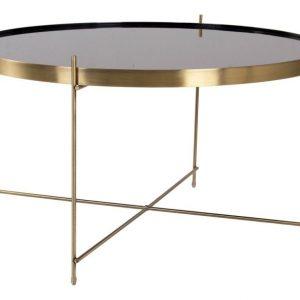 Nordic Living Zlatý kulatý skleněný konferenční stolek Emeli 70 cm - Výška40 cm- Deska move Sklo