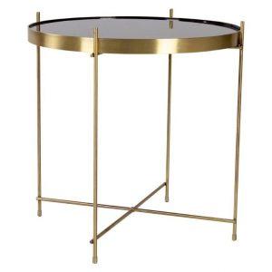 Nordic Living Zlatý kulatý skleněný konferenční stolek Emeli 48 cm - Výška48 cm- Průměr 48 cm