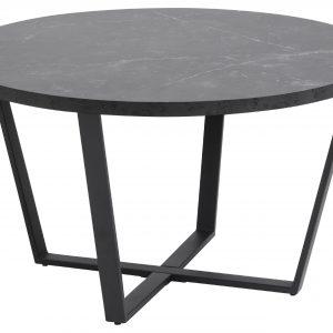 SCANDI Černý mramorový konferenční stolek Calvin 77 cm - Výška44 cm- Průměr 77 cm