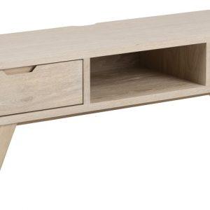 SCANDI Přírodní dřevěný televizní stolek Anita 150 x 40 cm - Šířka150 cm- Výška 45 cm