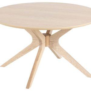 SCANDI Přírodní dřevěný kulatý konferenční stolek Luella - Výška45 cm- Průměr 80 cm