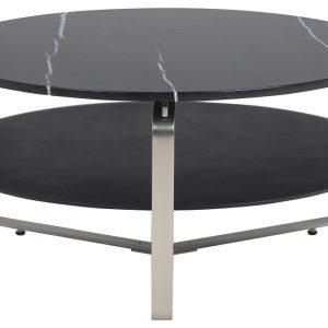 SCANDI Černý mramorový konferenční stolek Nuova 90 cm - Šířka90 cm- Výška 45 cm