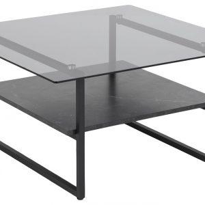 SCANDI Černý skleněný konferenční stolek Olendr 80 x 80 cm - Šířka80 cm- Výška 42 cm