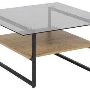 SCANDI Přírodní skleněný konferenční stolek Olendr 80 x 80 cm - Šířka80 cm- Výška 42 cm